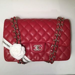 Chanel Red/Dark Pink Caviar Jumbo with SHW